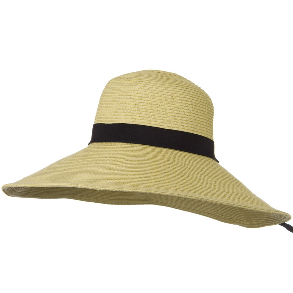 6 Inch Wide Brim Ribbon ML Straw Hat - Khaki - Hats and Caps Online Shop - Hip Head Gear