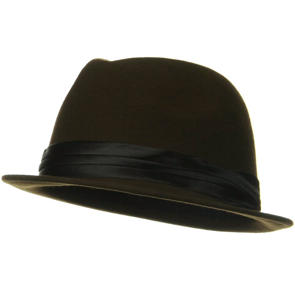 Ladies Wool Felt Fedora Hat - Coffee
