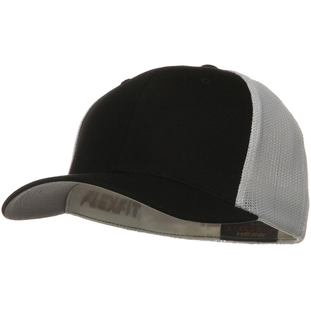 Flexfit Mesh Cotton Twill Trucker  2 Tone Cap - Black White - Hats and Caps Online Shop - Hip Head Gear