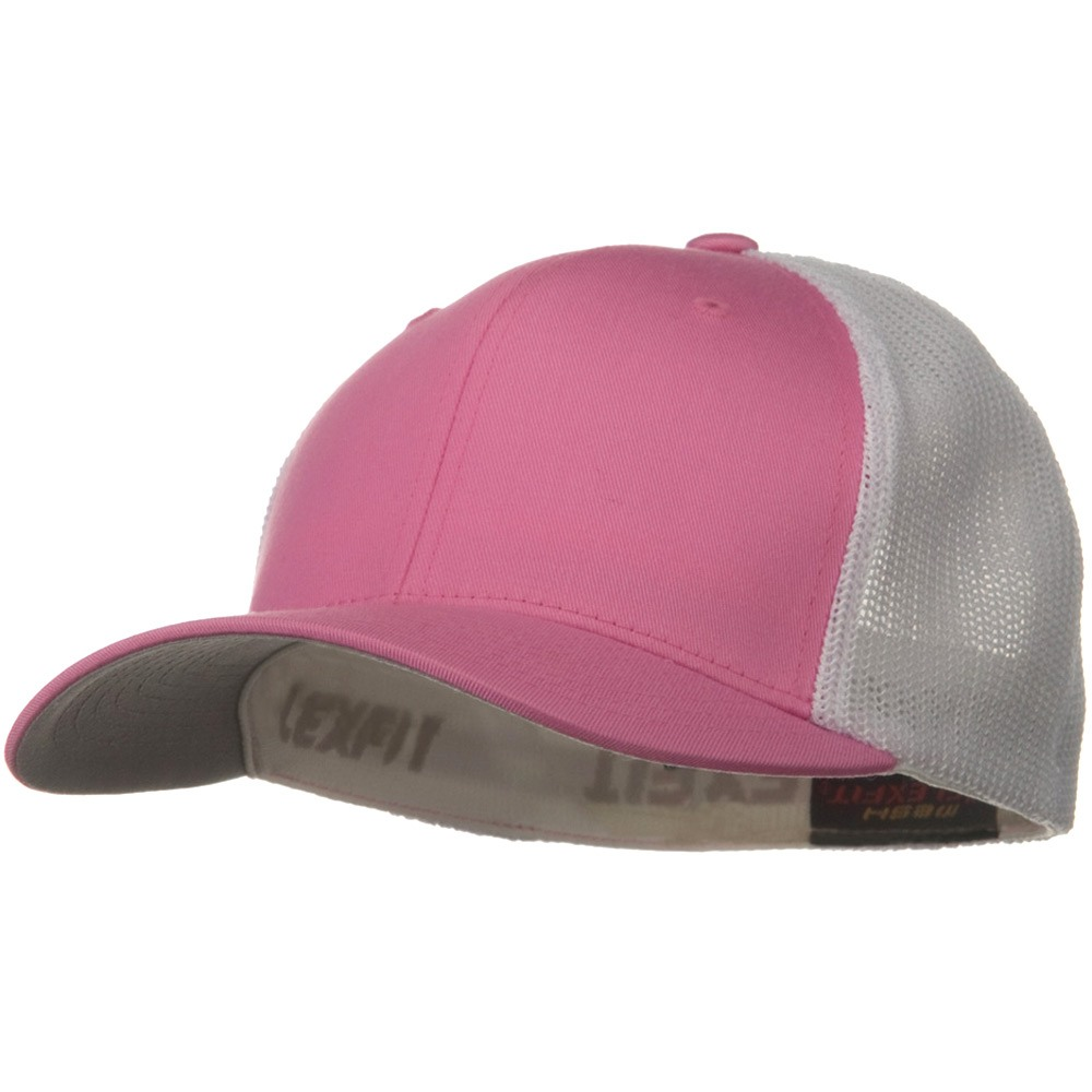 Flexfit Mesh Cotton Twill Trucker  2 Tone Cap - Pink White - Hats and Caps Online Shop - Hip Head Gear