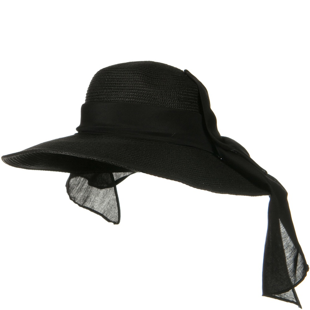 4 Inch Wide Brim Ribbon ML Straw Hat - Black - Hats and Caps Online Shop - Hip Head Gear