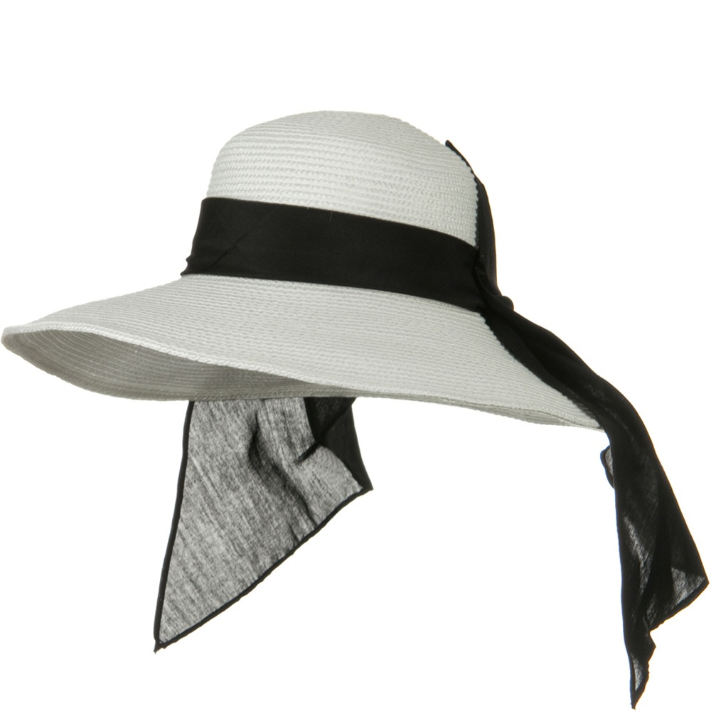 4 Inch Wide Brim Ribbon ML Straw Hat - White - Hats and Caps Online Shop - Hip Head Gear