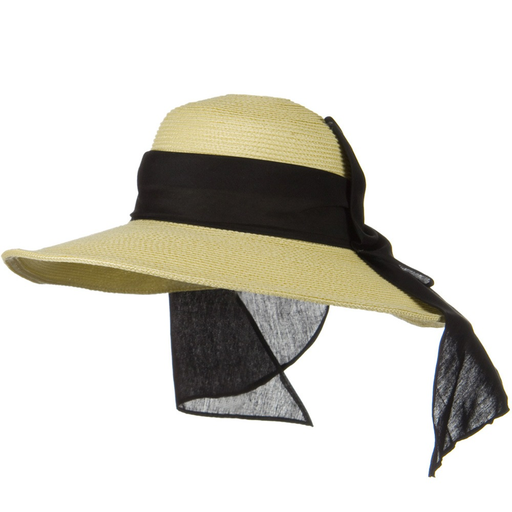 4 Inch Wide Brim Ribbon ML Straw Hat - Khaki - Hats and Caps Online Shop - Hip Head Gear