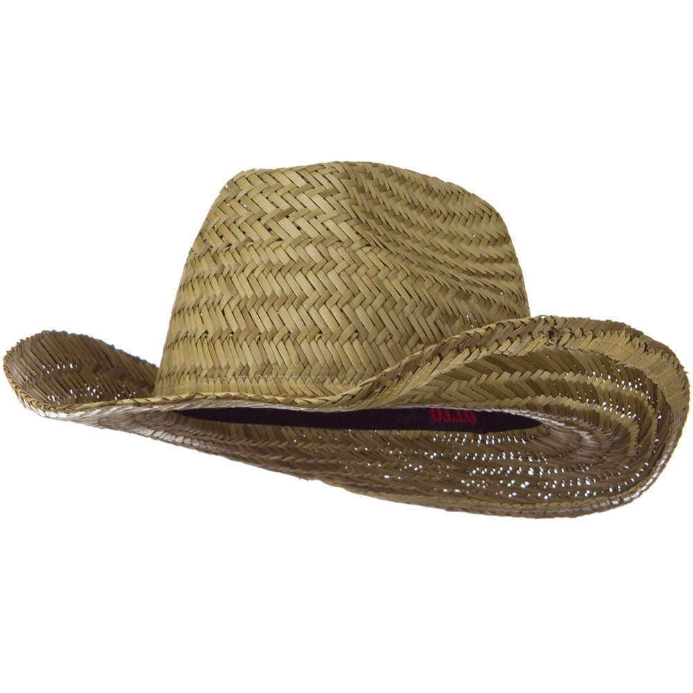 Dented Straw Cowboy Hat - Natural - Hats and Caps Online Shop - Hip Head Gear