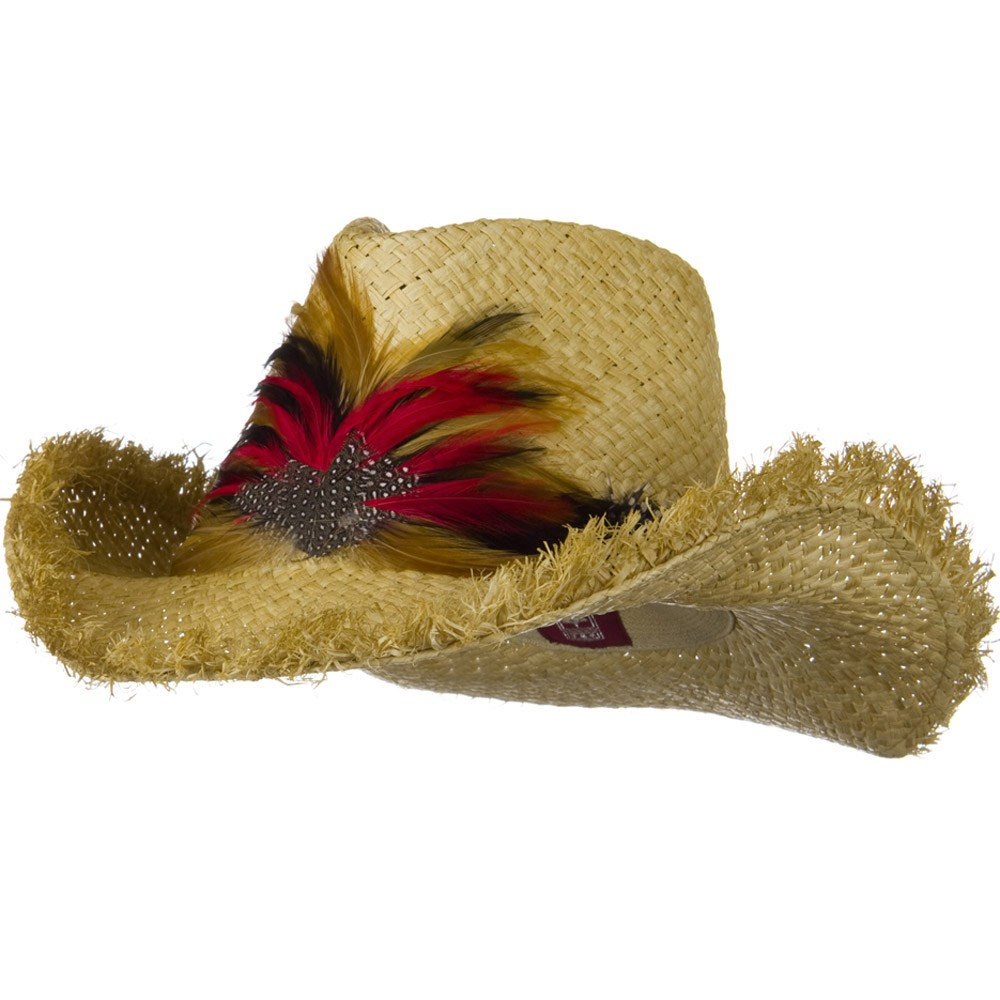 Outback Raffia Frayed Straw Hats-Red Feather - Hats and Caps Online Shop - Hip Head Gear