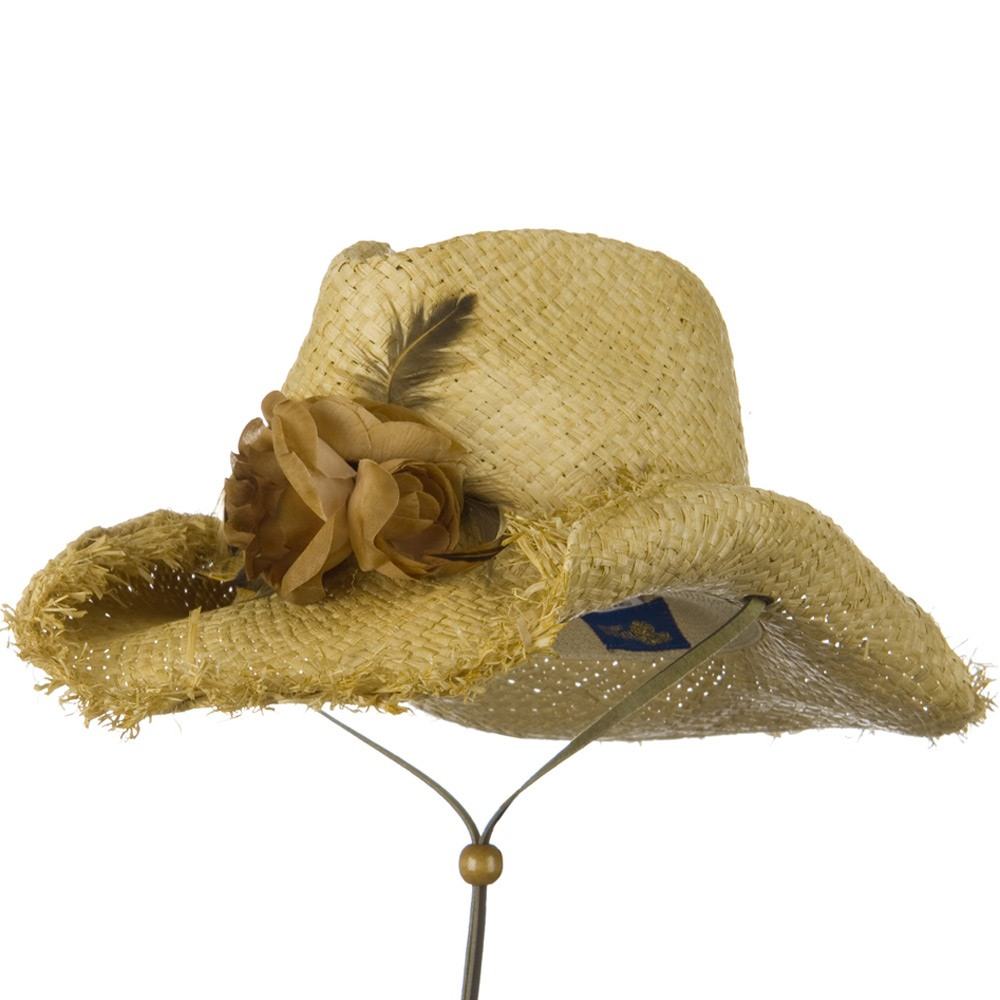 Outback Raffia Frayed Straw Hats-Brown Flower - Hats and Caps Online Shop - Hip Head Gear