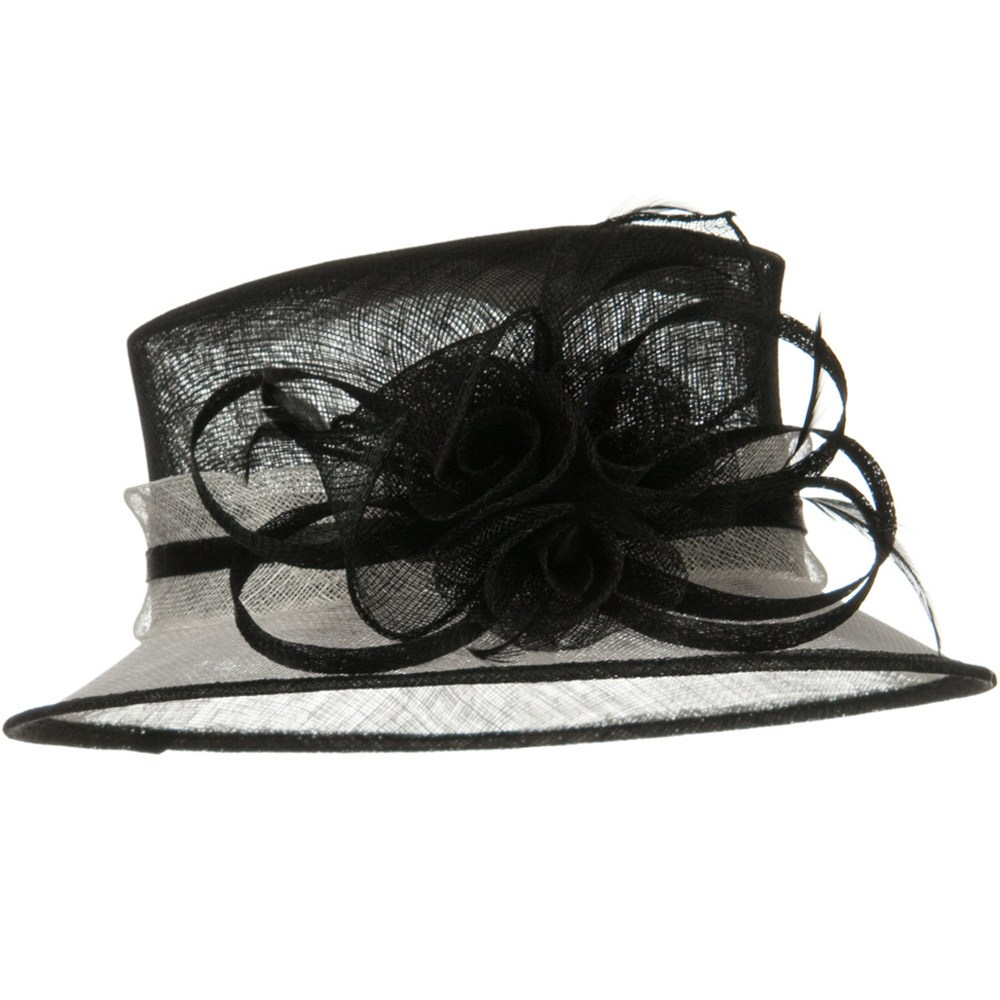 Med Brim 2 Tone Sinamay Hat - Black White - Hats and Caps Online Shop - Hip Head Gear