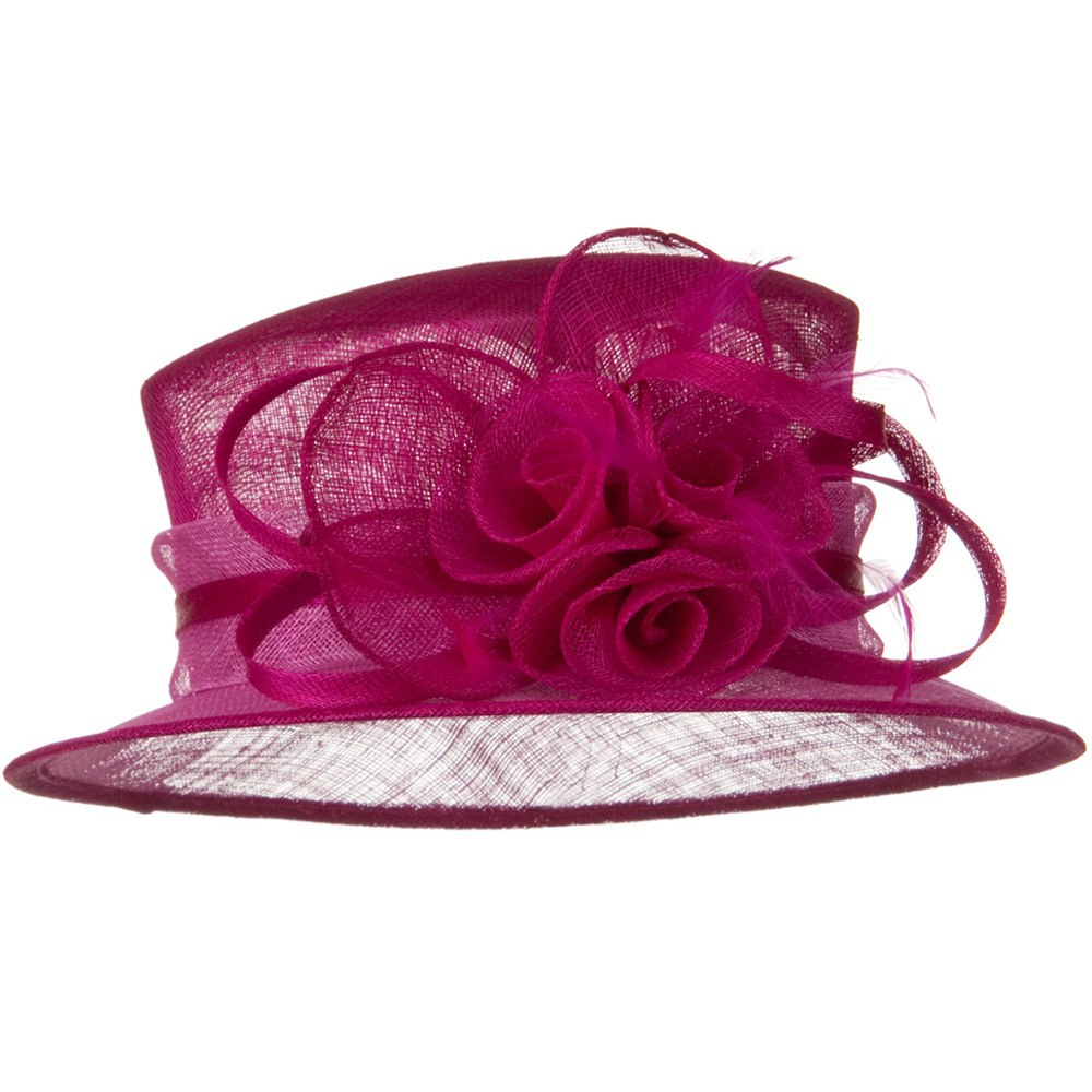Med Brim 2 Tone Sinamay Hat - Fuchsia - Hats and Caps Online Shop - Hip Head Gear