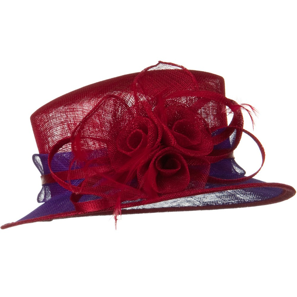 Med Brim 2 Tone Sinamay Hat - Red Purple - Hats and Caps Online Shop - Hip Head Gear