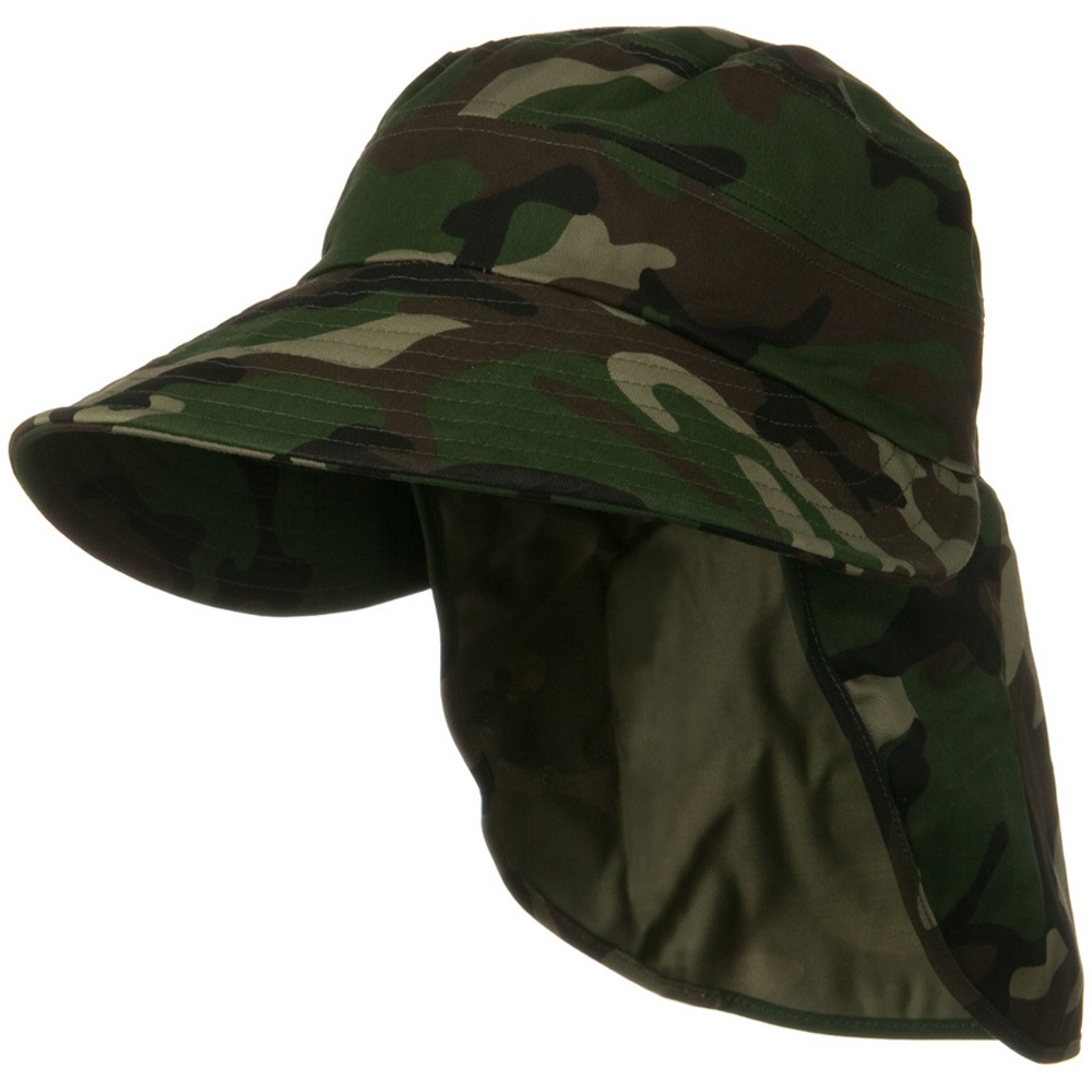 Wide Brim Ear Back Flap Hat - Green Camo - Hats and Caps Online Shop - Hip Head Gear