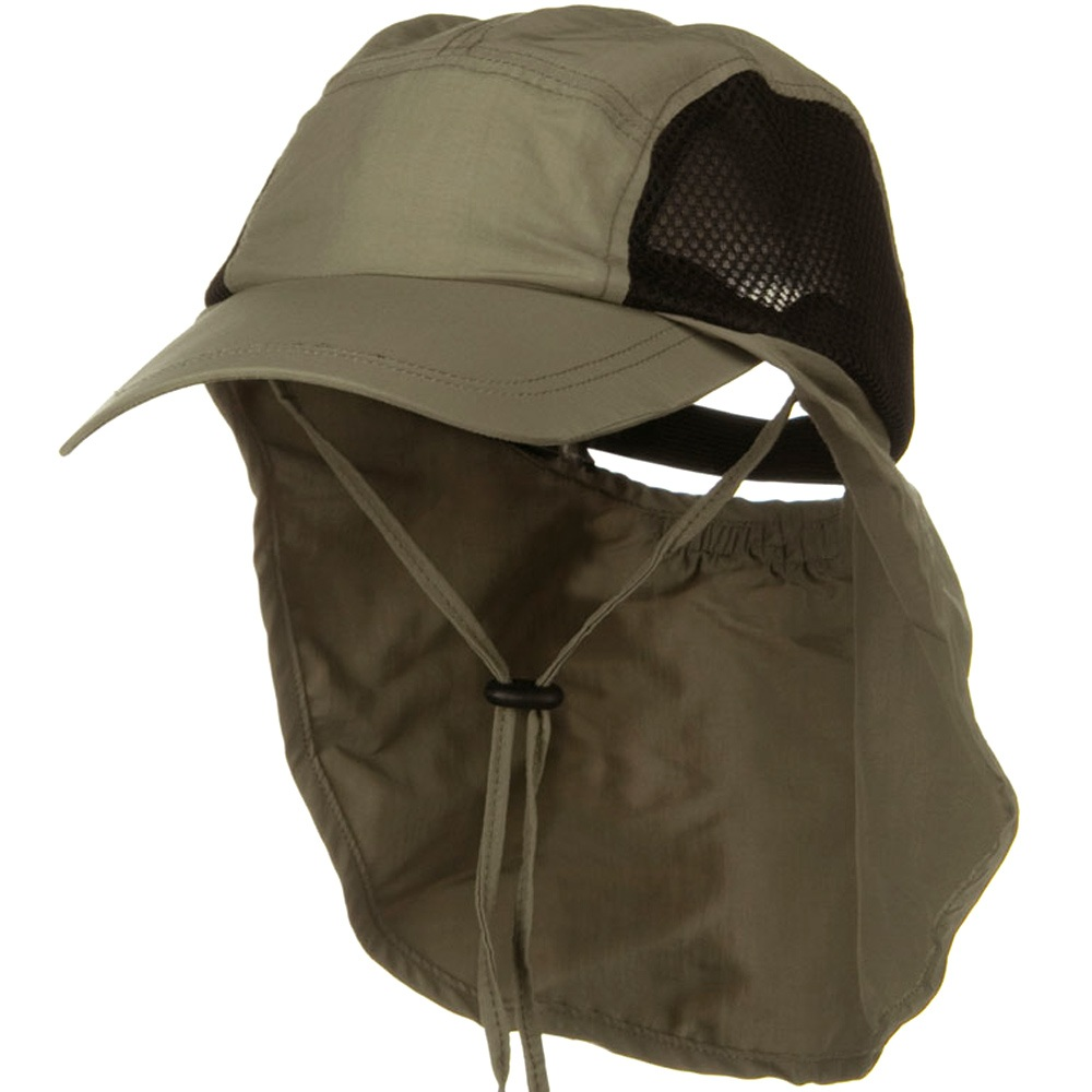 Adjustable Strap Mesh Crown Flap Cap - Khaki - Hats and Caps Online Shop - Hip Head Gear