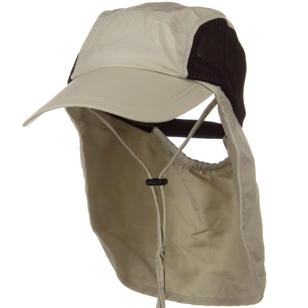 Adjustable Strap Mesh Crown Flap Cap - Beige - Hats and Caps Online Shop - Hip Head Gear