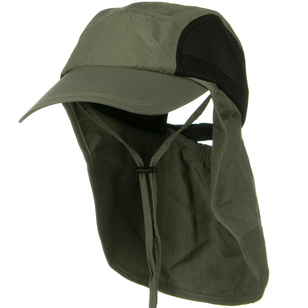 Adjustable Strap Mesh Crown Flap Cap - Olive - Hats and Caps Online Shop - Hip Head Gear