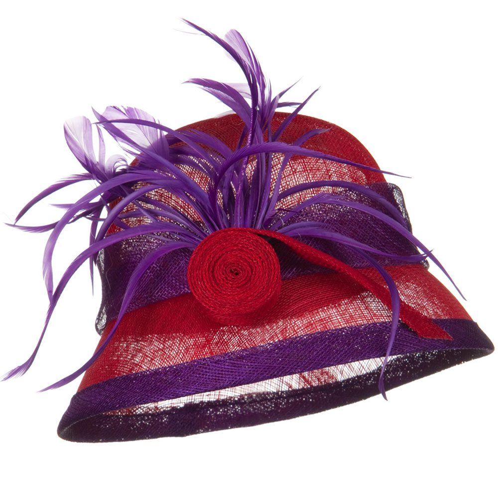 SM Brim Rolled Ribbon Sinamay Hat - Red Purple - Hats and Caps Online Shop - Hip Head Gear