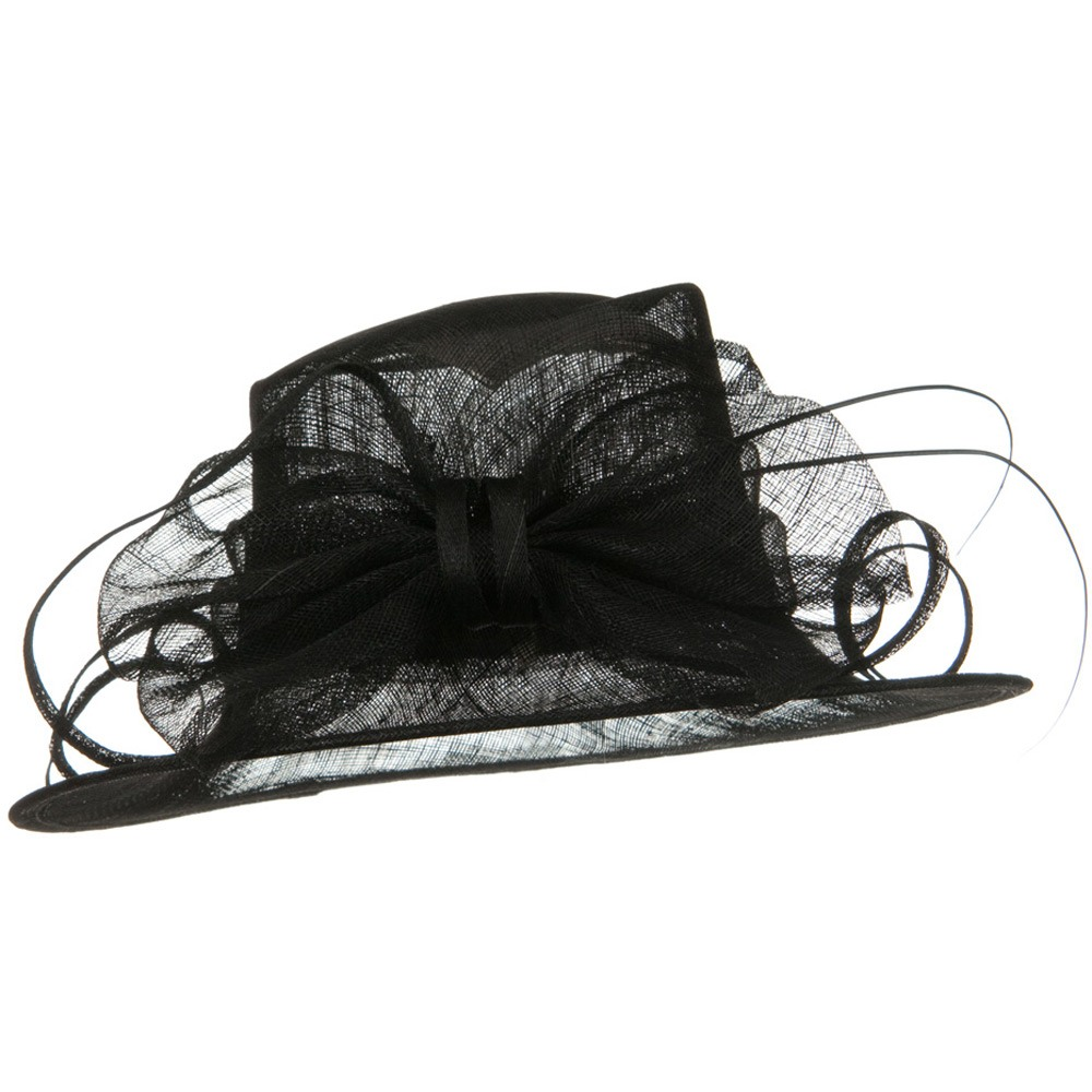 Med Brim Large Bow Sinamay Hat - Black - Hats and Caps Online Shop - Hip Head Gear