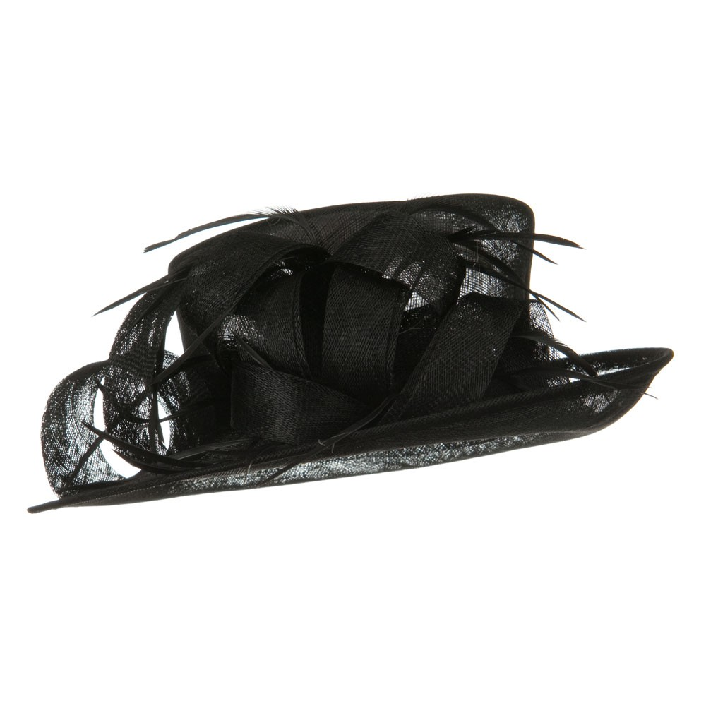 Med Brim Sinamay Curl Bow Hat - Black - Hats and Caps Online Shop - Hip Head Gear