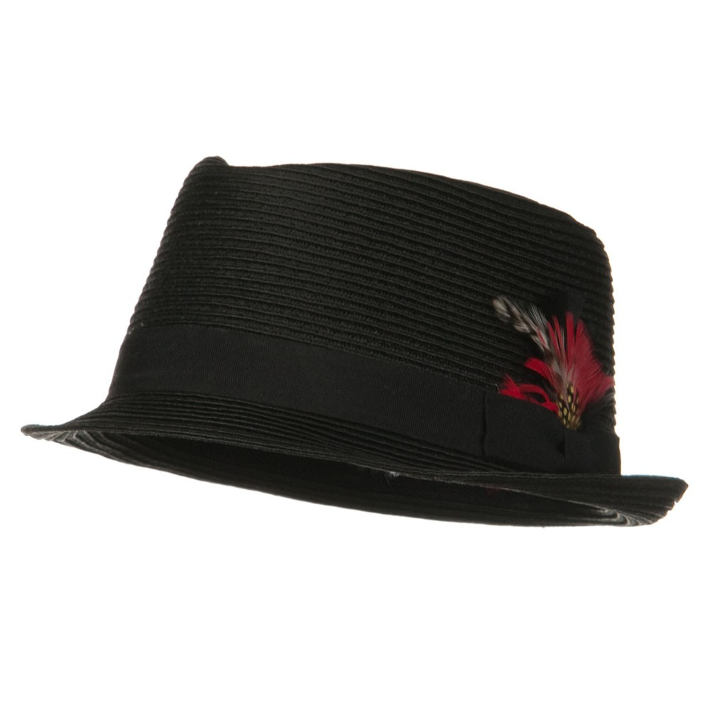 ML Feather Straw Braid Fedora Hat - Black Black - Hats and Caps Online Shop - Hip Head Gear