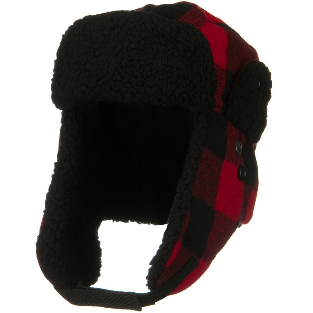 Bufflow Plaid Trooper Winter Hat - Red Black - Hats and Caps Online Shop - Hip Head Gear