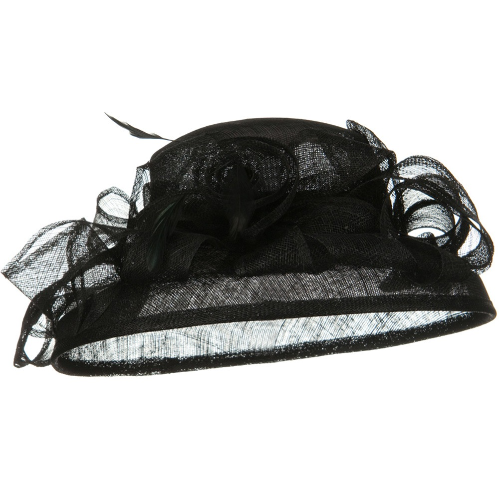 Med Brim Ruffle Flower Sinamay Hat - Black - Hats and Caps Online Shop - Hip Head Gear
