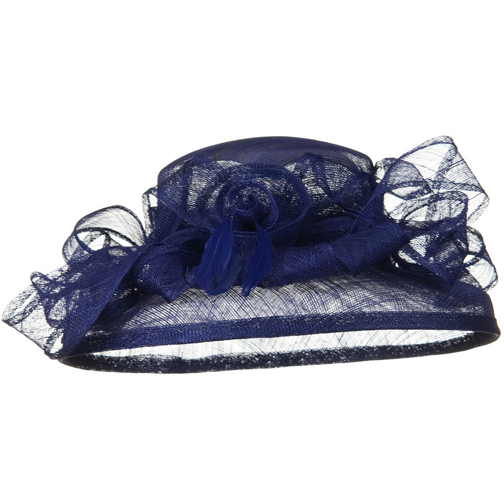Med Brim Ruffle Flower Sinamay Hat - Royal - Hats and Caps Online Shop - Hip Head Gear