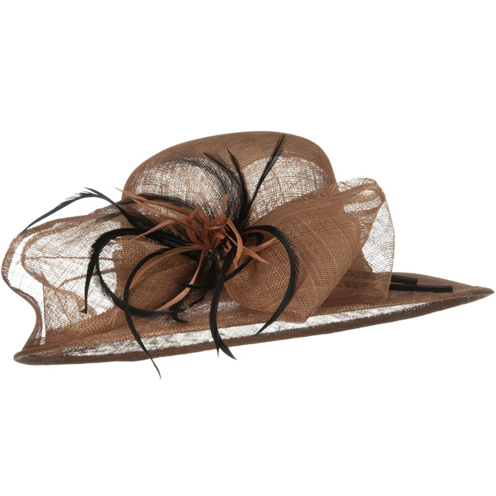 Med Brim Feather Flower Sinamay Hat - Brown - Hats and Caps Online Shop - Hip Head Gear