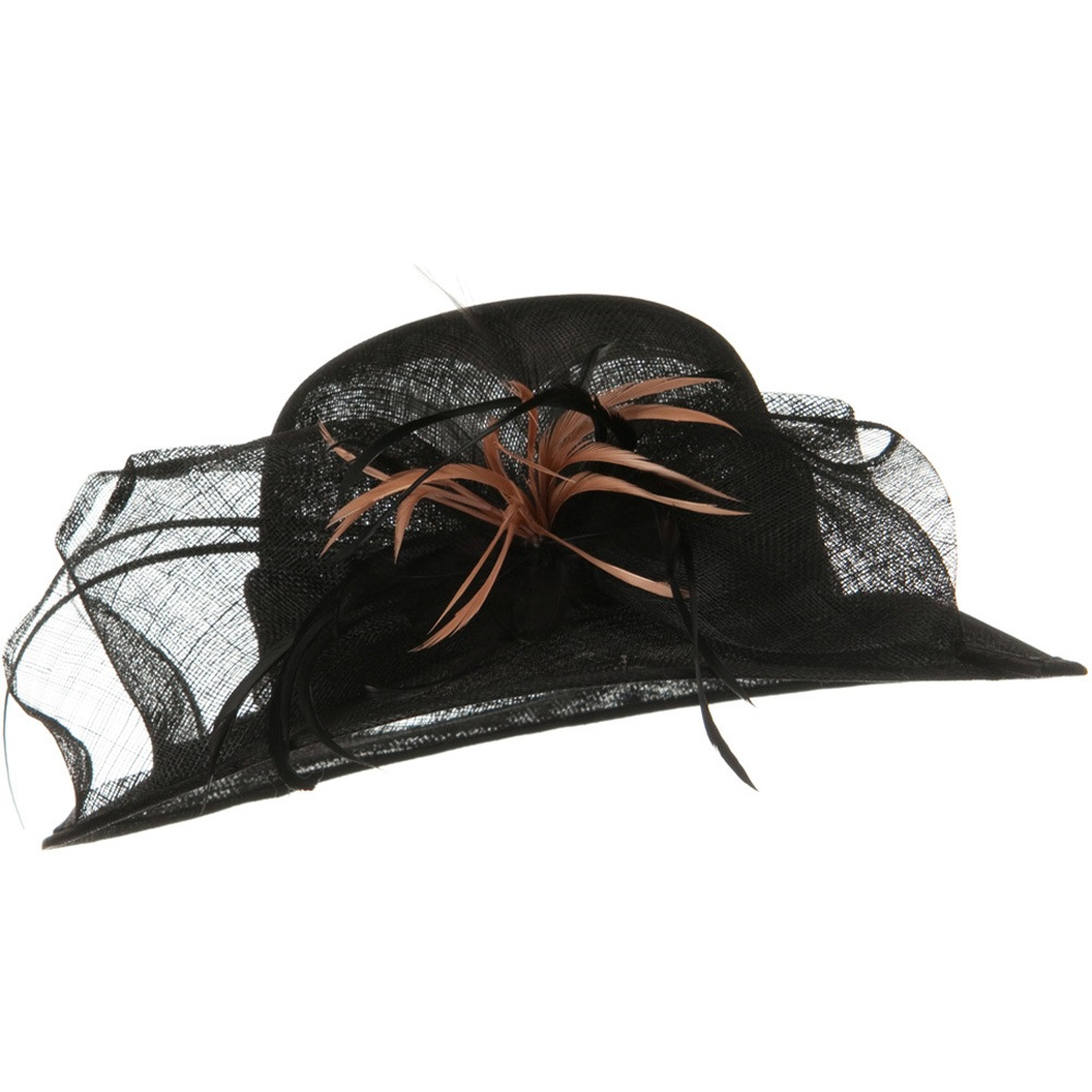 Med Brim Feather Flower Sinamay Hat - Black - Hats and Caps Online Shop - Hip Head Gear