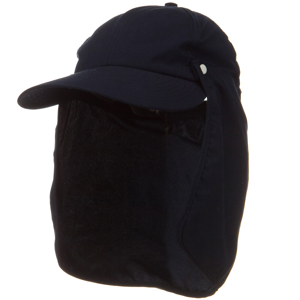 Water Repellent Microfiber Sun Block Flap Cap - Navy - Hats and Caps Online Shop - Hip Head Gear