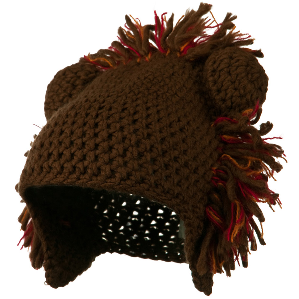 Toddler Acrylic Animal Ear Beanie - Lion Brown - Hats and Caps Online Shop - Hip Head Gear