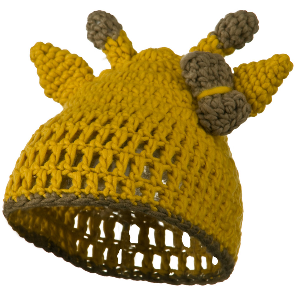 Toddler Acrylic Animal Ear Beanie - Giraffee Gold - Hats and Caps Online Shop - Hip Head Gear