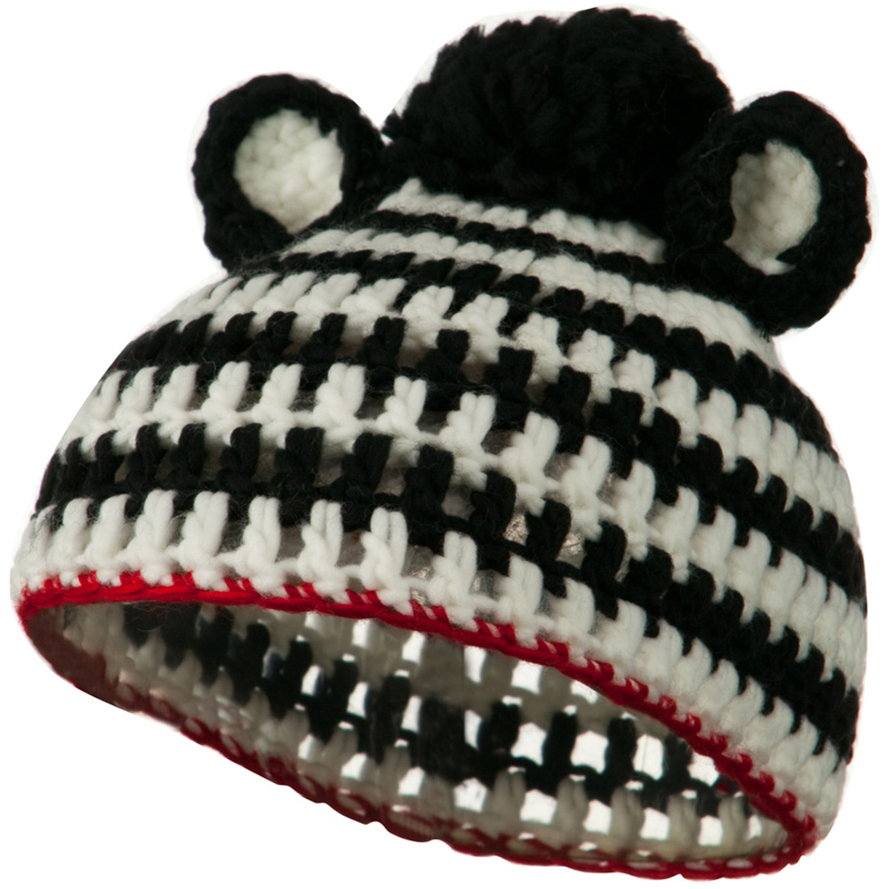 Toddler Acrylic Animal Ear Beanie - Zebra Black - Hats and Caps Online Shop - Hip Head Gear