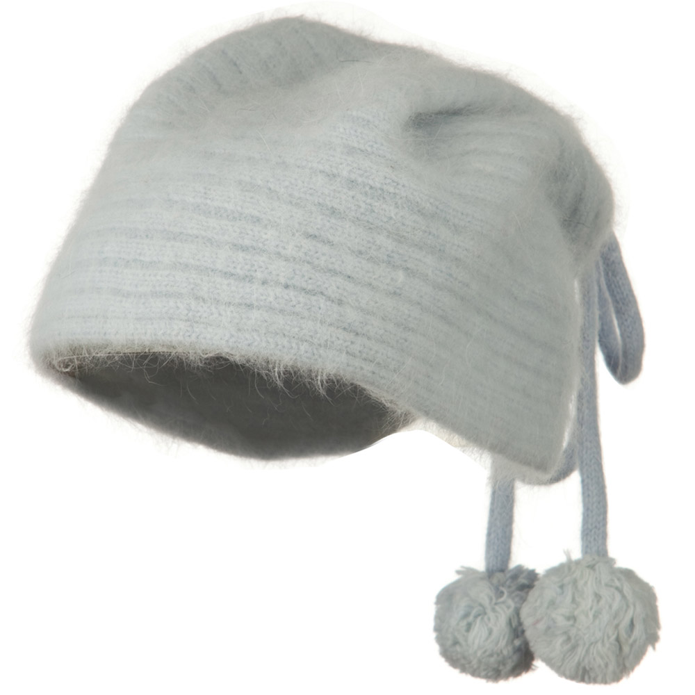 Angora Bandana Tassel Beanie - Light Blue - Hats and Caps Online Shop - Hip Head Gear