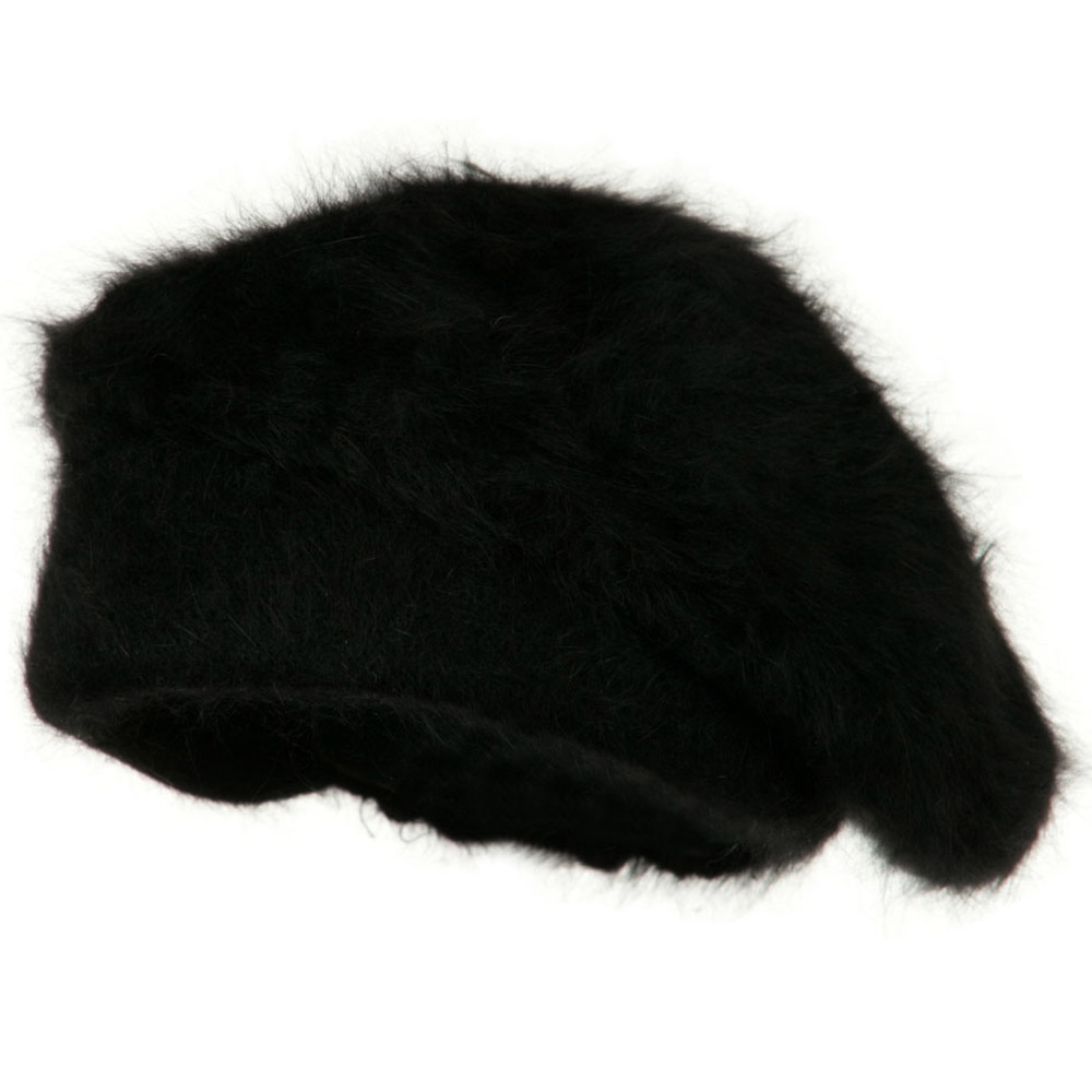 Lady Angora Beret - Black - Hats and Caps Online Shop - Hip Head Gear