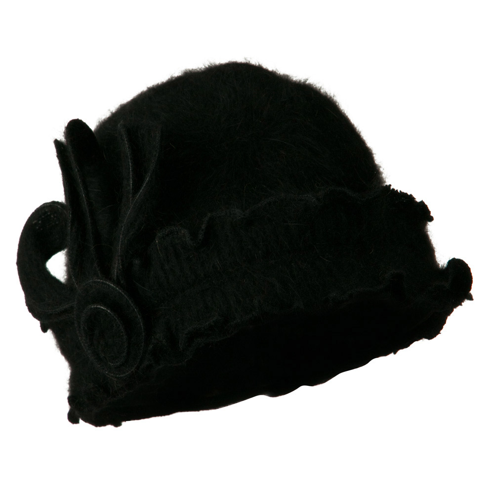 Woman's Angora Blend Ruffled Cloche Hat - Black - Hats and Caps Online Shop - Hip Head Gear