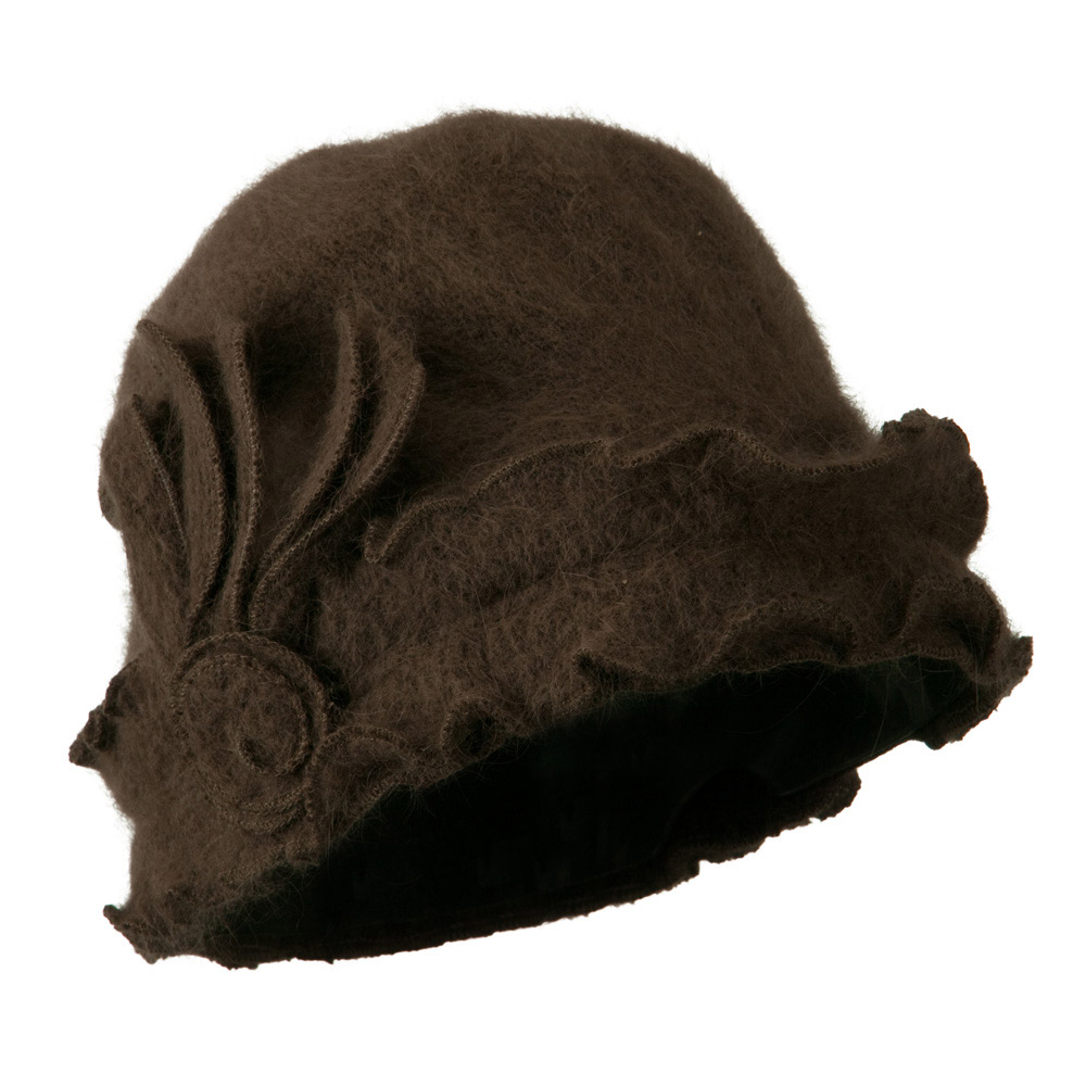 Woman's Angora Blend Ruffled Cloche Hat - Brown - Hats and Caps Online Shop - Hip Head Gear