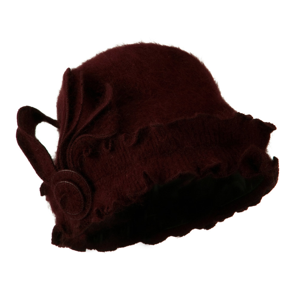 Woman's Angora Blend Ruffled Cloche Hat - Burgundy - Hats and Caps Online Shop - Hip Head Gear