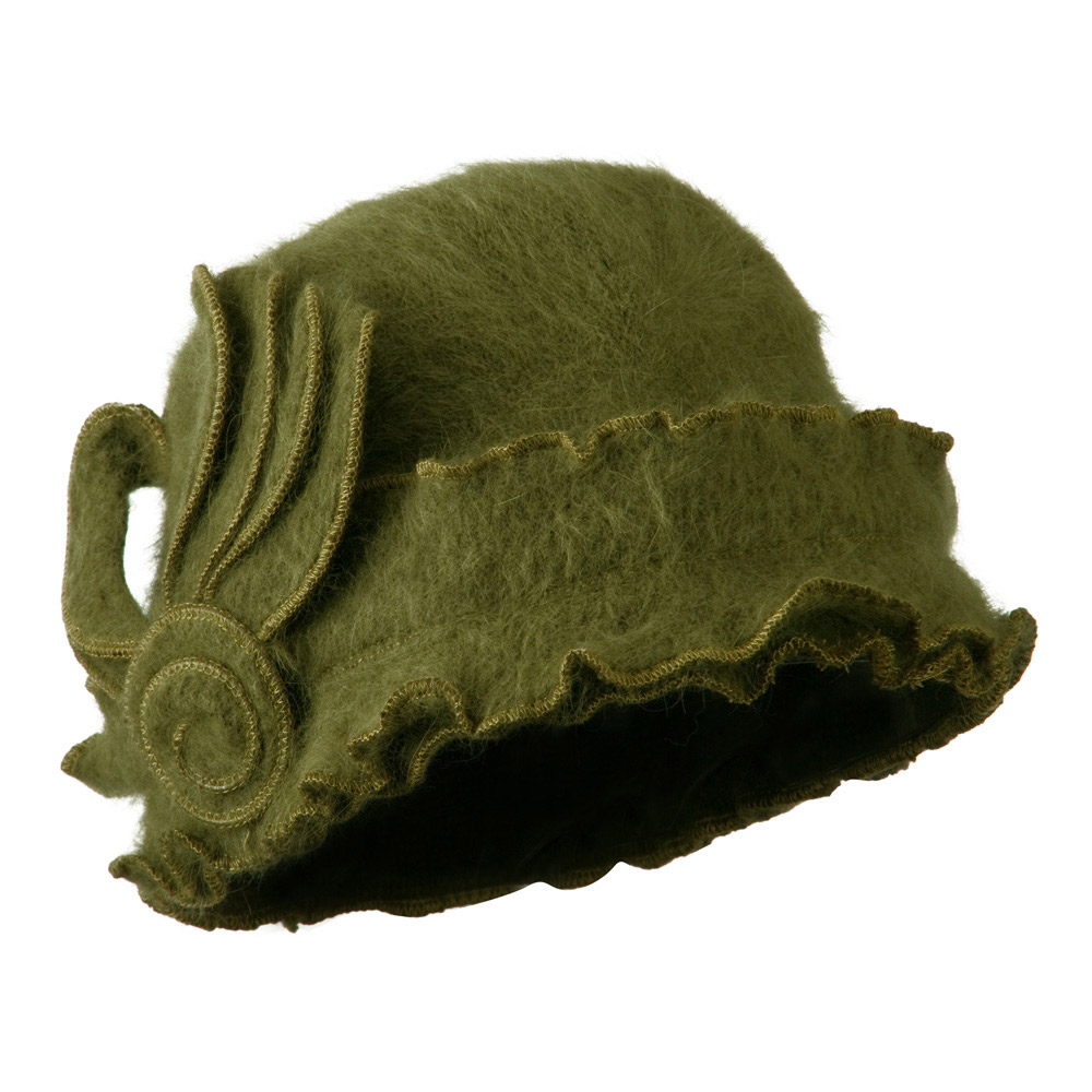 Woman's Angora Blend Ruffled Cloche Hat - Olive - Hats and Caps Online Shop - Hip Head Gear