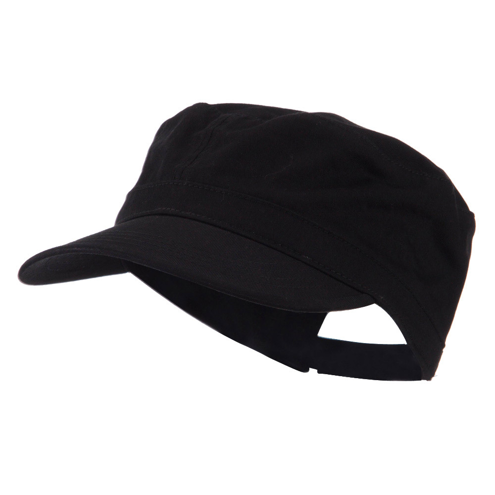 Adjustable Cotton Military Cap - Black - Hats and Caps Online Shop - Hip Head Gear