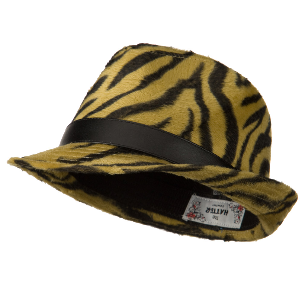 Animal Design Fedora Hat with PU Band - Brown Zebra - Hats and Caps Online Shop - Hip Head Gear