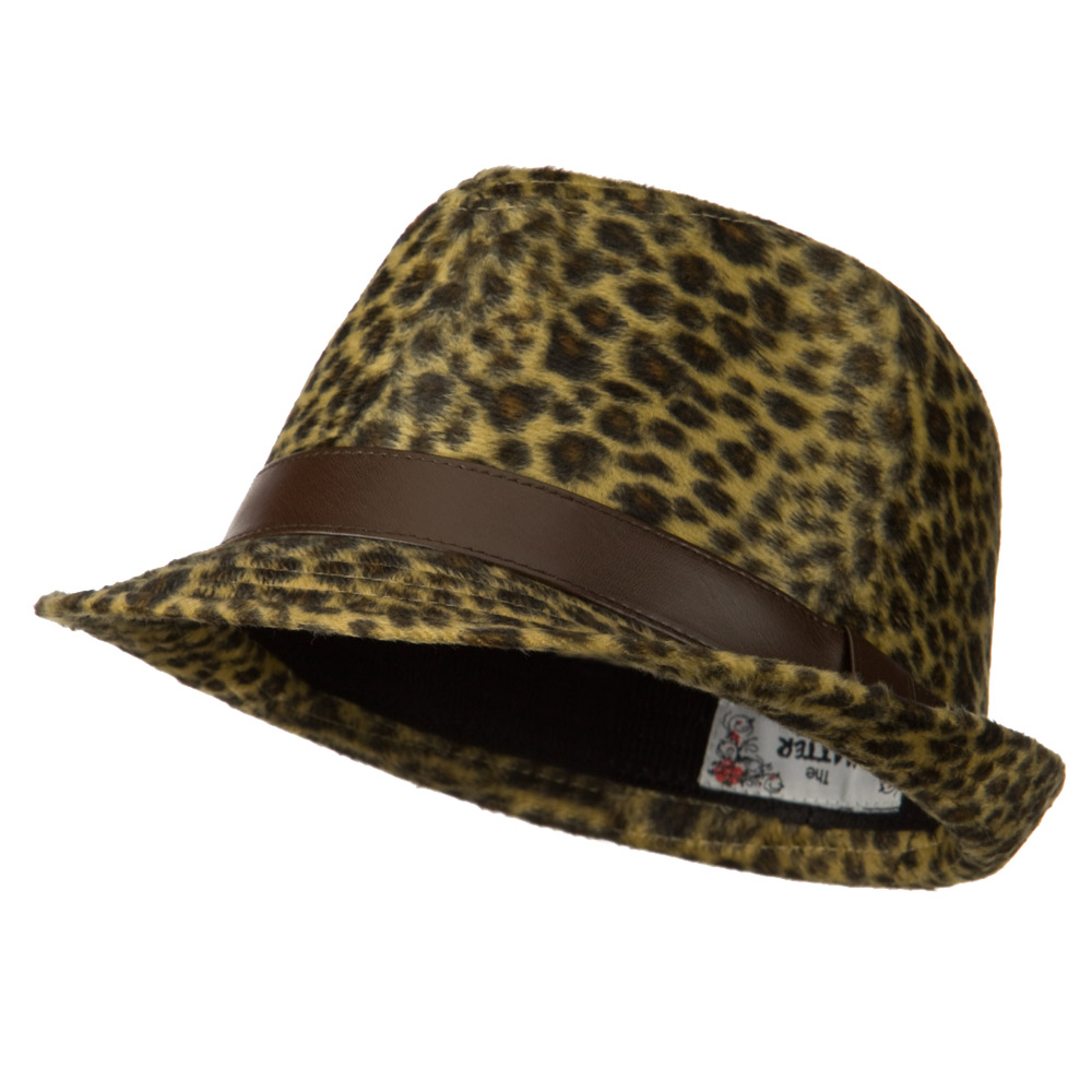 Animal Design Fedora Hat with PU Band - Dark Leopard - Hats and Caps Online Shop - Hip Head Gear