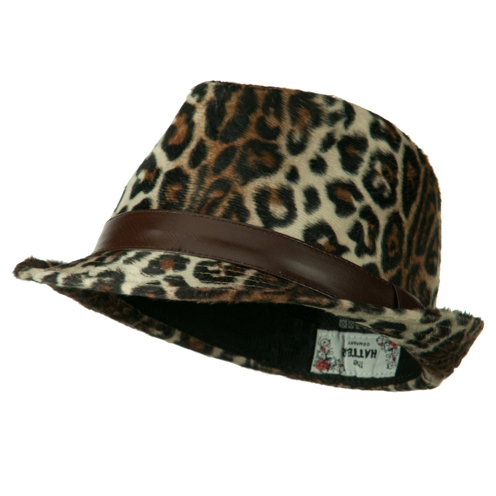 Animal Design Fedora Hat with PU Band - Light Leopard - Hats and Caps Online Shop - Hip Head Gear