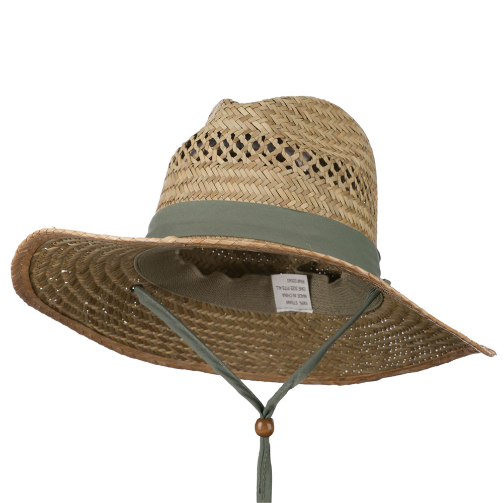 Man's Aussie Elastic Sweat Band Safari Straw Hat - Natural - Hats and Caps Online Shop - Hip Head Gear