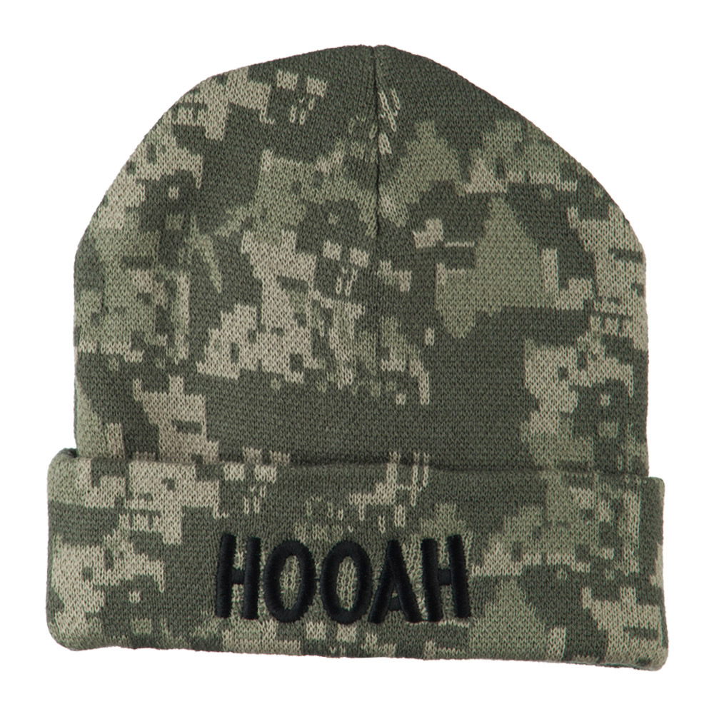 Army Embroidered Digital Camo Beanie - Hooah - Hats and Caps Online Shop - Hip Head Gear