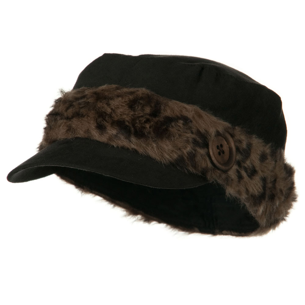 Animal Fur Band Military Cap - Black - Hats and Caps Online Shop - Hip Head Gear
