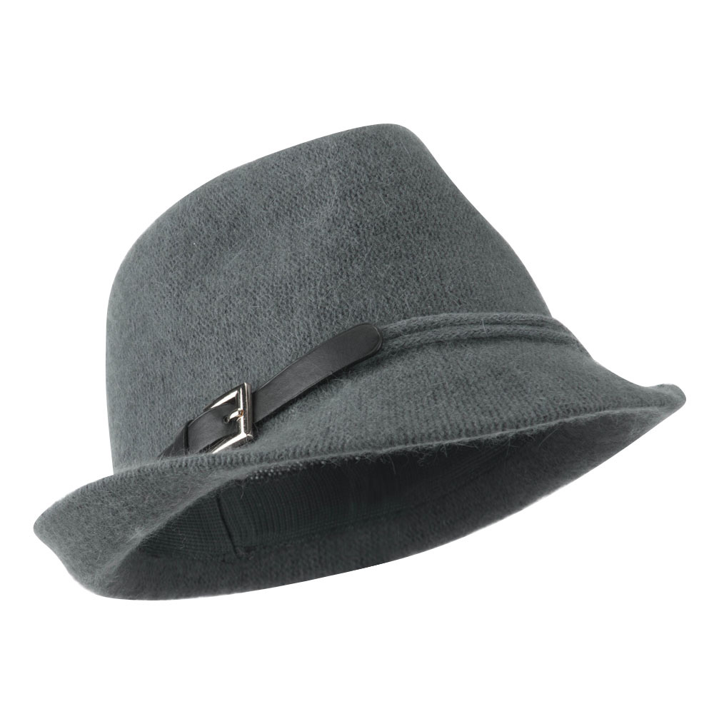 Angora Fedora with Belt Buckle Accent - Charcoal - Hats and Caps Online Shop - Hip Head Gear