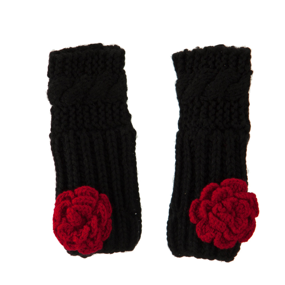 Acrylic Flower Accent Armwarmer - Black - Hats and Caps Online Shop - Hip Head Gear