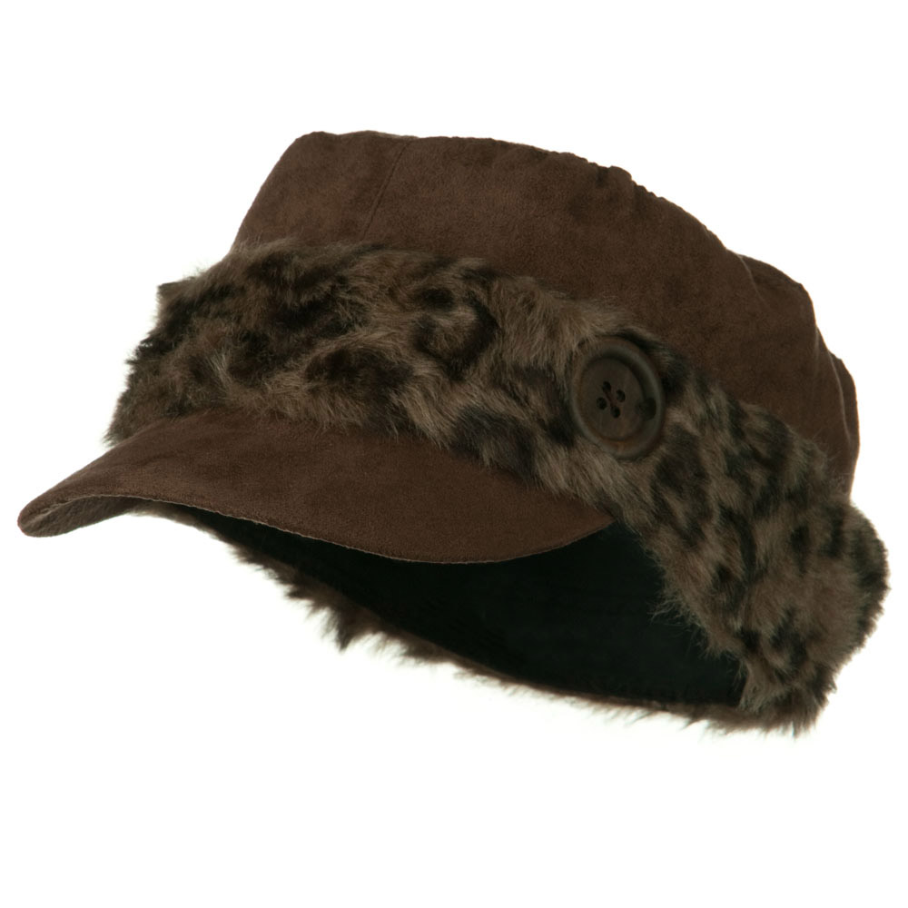 Animal Fur Band Military Cap - Brown - Hats and Caps Online Shop - Hip Head Gear