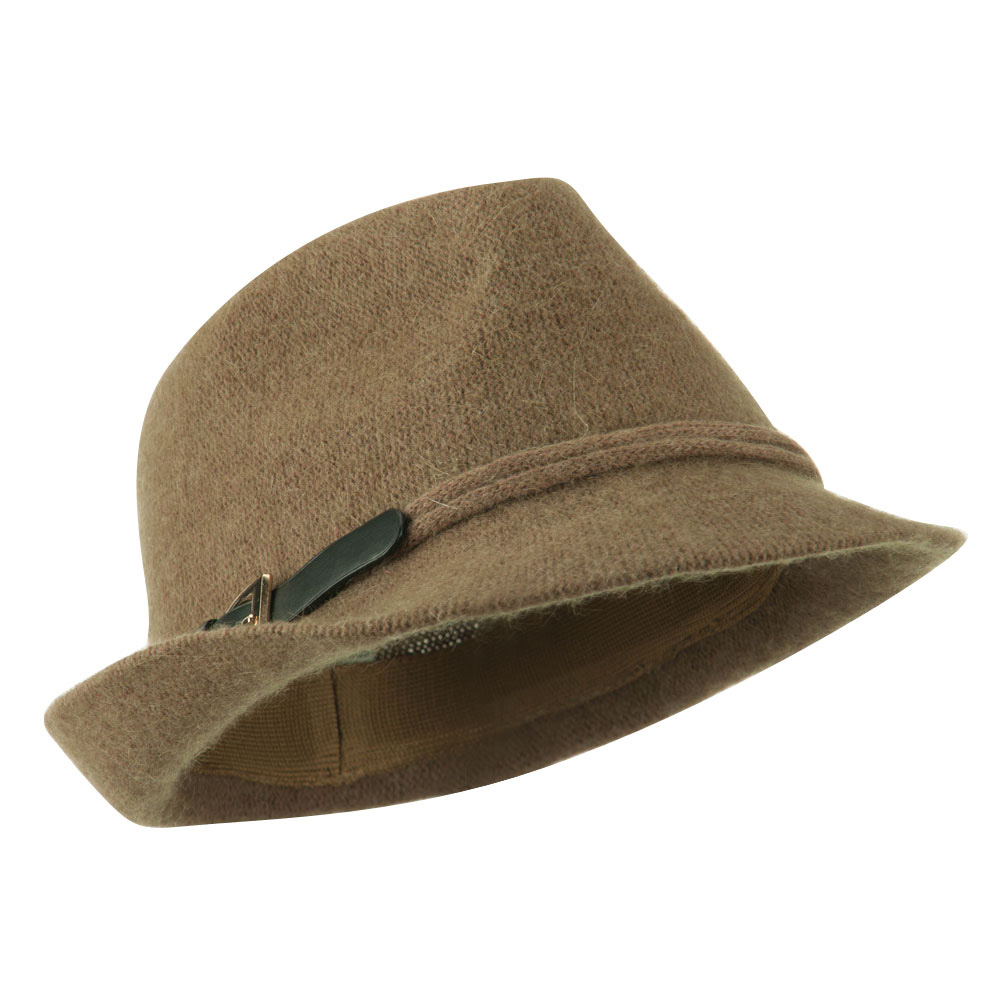 Angora Fedora with Belt Buckle Accent - Taupe - Hats and Caps Online Shop - Hip Head Gear