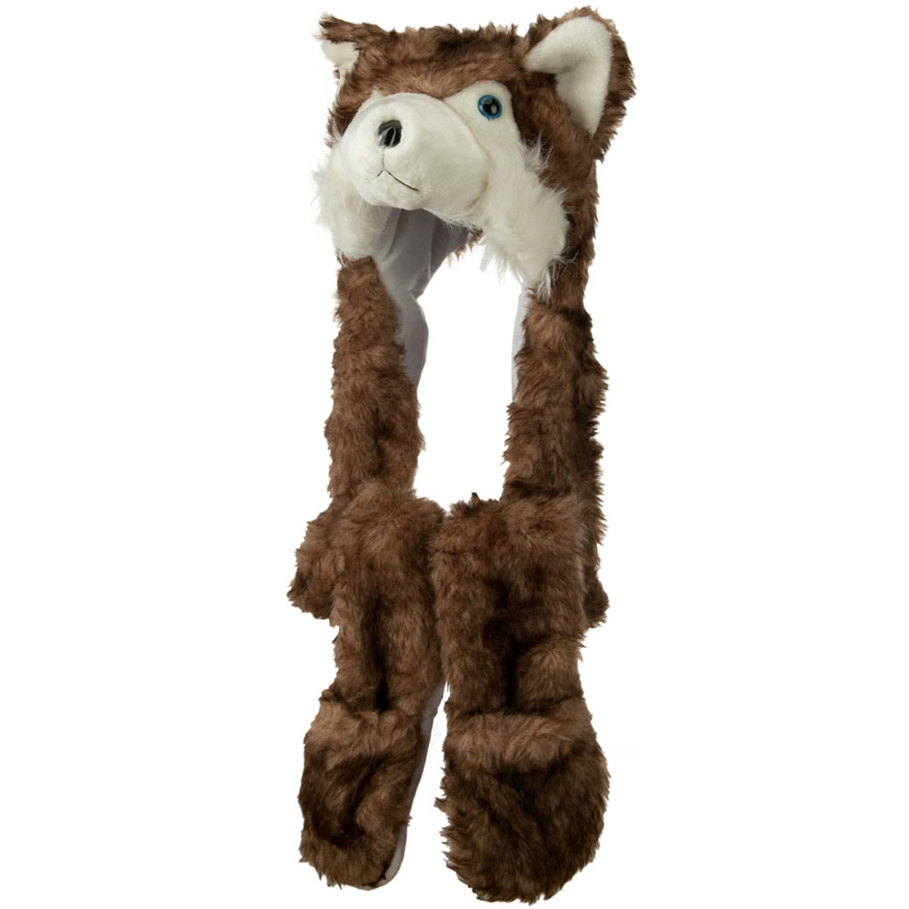 Long Animal Faux Fur Hat - Brown Husky 2 - Hats and Caps Online Shop - Hip Head Gear
