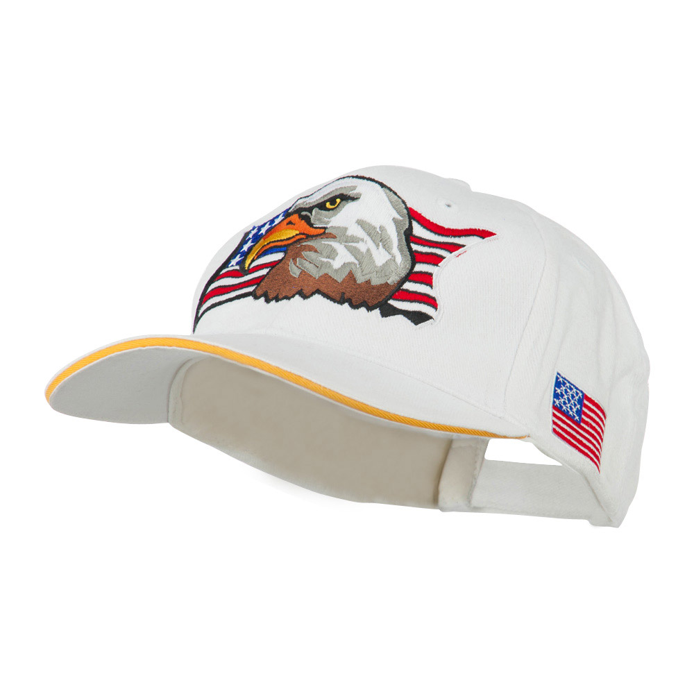 American Flag with Eagle Patched Cap - White - Hats and Caps Online Shop - Hip Head Gear