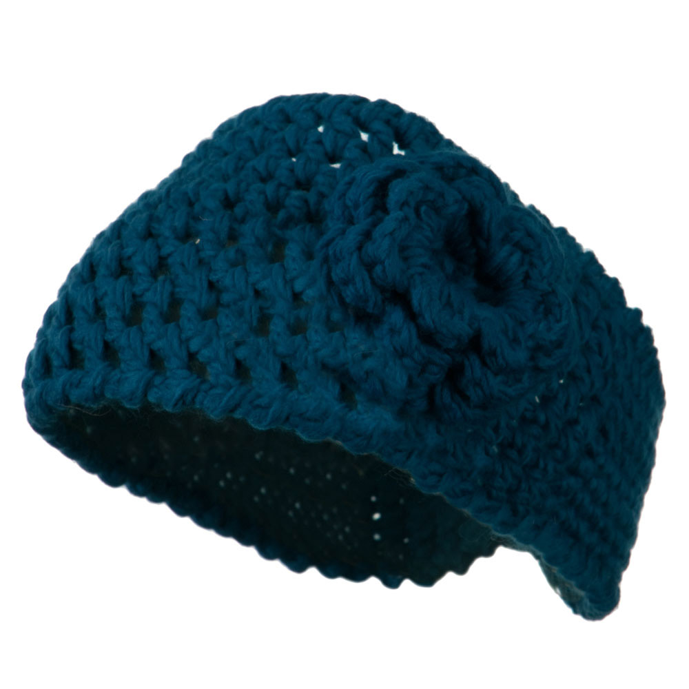 Ladies Acrylic Flower Accent Head Band - Dark Teal - Hats and Caps Online Shop - Hip Head Gear